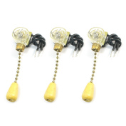 3pcs On/Off Ceiling Fan Canopy Pull Chain Switch 6A 125VL Gold Tone