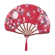 Floral Print Retro Style Tassel Pendant Hanger Decor Dancing Hand Fan Dark Red