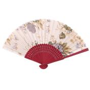 Beach Bamboo Flower Pattern Retro Style Cooling Dancing Hand Fan 21cm Length