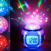 Alarm Clock, Huhua Thoughtful Music Led Star Sky Projection Digital Alarm Clock Calendar Thermometer