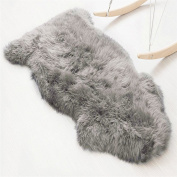 Faux Sheepskin Rug (60x90 cm) Sheepskin Rug Longhair Faux Fur Imitation Wool Sofa Bedroom Rug Mat grey