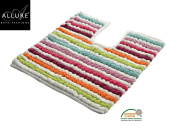 Toilet Mat for Pedestal Extra Thick California 2200gsm Heavy Supreme Supersoft Pedestal Mats Allure Bath Fashions - Size 50 x 50cm in Multi Brights