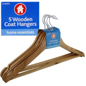 NEW 5 X WOODEN COATED HANGERS - STRONG CHROME HOOK - IDEAL FOR SUIT, TROUSER,DRESSES, COAT, TOP,TIE - GREAT USE FOR COMMERCIAL AND DOMESTIC - SHOULDER SHAPE DESIGN - MADE FROM STRONG HARDWOOD