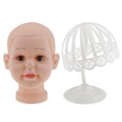 MagiDeal 2pcs Kids Children Hats Caps Wig Glasses Display Holder Rack Boy Mannequin Head Model