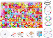 Children DIY Beads Set,Bracelet Bead Art & Jewellery-Making,Bead String Making Set,24 Different Types and Shapes Colourful Acrylic DIY