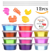 Clear Slime,BCMRUN 12 Colours 740ml Clear Magic Crystal Slime fluffy Slime DIY Kids Toy Soft Jelly Clay Mud Stress Reducer Toy for Children and Adults with 5 Models(Random) and 3 Straws