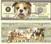 Novelty Dollar Bulldog Dog Puppy One Million Dollar Bills X 4 New Gift