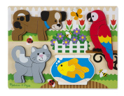 Melissa & Doug Pets Wooden Chunky Jigsaw Puzzle - Dog, Cat, Bird, and Fish