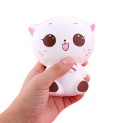 Squishy Toys, Quistal Slow Rising Squishy Toys Stress Relief Soft Kawaii Kitty Cat Doll Expression Squeeze Stretchy Toy Phone Charm