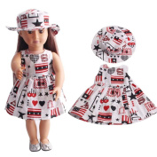Dress For 46cm American Girl ,AmaMary Lovely Flower Printed Doll Clothes Dress with Hat For 18 American Girl Generation Doll