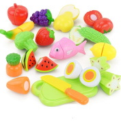 Kitchen Playsets Toys, Bestow 16PCS Children Kid Pretend Play Toys Cutting Fruit Vegetable Food Educational Toy For Gifts