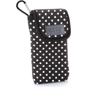 USA GEAR FlexARMOR D50 Portable Pocket Radio Case with Carabiner Clip, Polka Dot