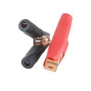 Unique Bargains Unique Bargains 2 Pcs Black Red Sleeve 100A Battery Test Clips Alligator Clamps for Car