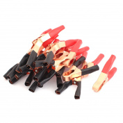 Unique Bargains 50A 600V Copper Plated Car Battery Test Alligator Clip Red Black 22PCS