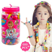 600 PCS Snap Beads Set - Picowe Kids' Jewellery Making Kits for Necklace and Bracelet for Girls Art Crafts Gift Toys