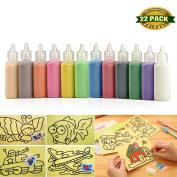 Sand Art kit , Art Sand Scenic Sand wiht 10 Sheets Sand Art Painting Cards Set Children Art Toy Christmas Present, 12 colour