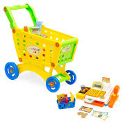 Best Choice Products 27-Piece Educational Toy Pretend Grocery Shopping Cart w/ Register, Safe Plastic Food, Play Money