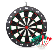 Safety Dart Board Set for Kids, Ylovetoys 41cm Rubber Dart Board with 9 Soft Safety Darts, Great for Office and Family Time