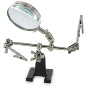 RamPro Helping Hands Magnifier Glass Stand with Alligator Clips – 4x Magnifying Lens, Perfect for Soldering, Crafting & Inspecting Micro Objects