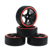 HobbyMarking 4Pcs/Set RC On-Road 1/10 Car 5 Spoke Tyres Tyre and Wheel Rims for 1:10 Tamiya HSP HPI Kyosho Traxxas Racing Car