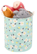 Toy Storage Bin / Laundry Hamper, Zooawa Large Collapsible Organiser Bin Waterproof Foldable Standing Toy Chest Basket with Handles - Light Green Print