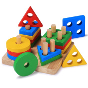 Bettroom Wooden Educational Preschool Shape Colour Recognition Geometric Board Block Stack Sort Chunky Puzzle Toddler toys for 1 2 3 4-5 6 year olds and Up Kid Children boys girls Baby
