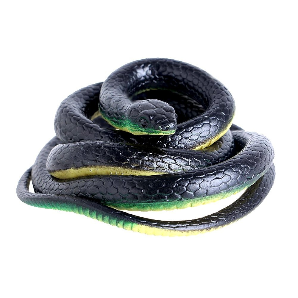 Nakimo Realistic Rubber Fake Snake Toy 130cm Mamba for Garden Props and  Practical Joke