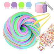 Fluffy Slime, Jumbo Fluffy Floam Slime Stress Relief Toy Scented Sludge Toy, Mix Colour 210ml with 3 Slime Tools and foam Balls