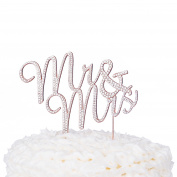 Mr & Mrs Wedding Cake Topper Rose Gold Cursive Rhinestone Monogram Decoration