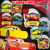 Valentines Day Classroom Exchange Gift | Disney Pixar Cars 3 Lightning McQueen Cruz Storm | 24 Valentine Cards & 24 Lollipops Candy | Kids DIY DayCare Sunday School Homeschool Art Projects Parties
