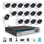 TECBOX 16 CH Wired Home Surveillance Camera System AHD 720P Outdoor Night Vision Cameras Remote View Motion Detection 2TB Hard Drive