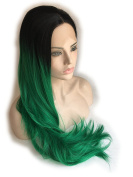 Cupidlovehair Long Natural Straight Curly Black Ombre Dark Green Colour Synthetic Lace Front Wigs 70cm
