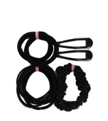 School Hair Accessory Set Sleepies Clips, Hair Bobble Elastics & Scrunchie-Black