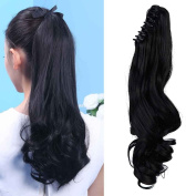 46cm Ponytail Claw on Hair Extensions Curly Wavy Hairpiece Pony Tail Wrap Around Long Soft for Women Beauty, Natural Black