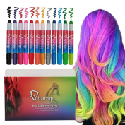 Qivange Hair Chalk, 12 Colours Non-Toxic Hair Dye for Both Wet and Dry Hair, Temporary Hair Chalk Pen for Kids in All Ages, Ideal Christmas Brithday Gifts for Girls Boys for Age 4 and Plus
