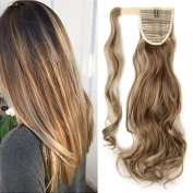 43cm Ponytail Clip in Hair Extensions Curly Wavy Highlighted Hairpiece Pony Tail Wrap Around Long Soft for Women Beauty, Light brown mix Ash blonde