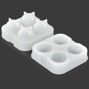 DIY Whisky Ice Ball Organosilicone Mould w/ Cover - Translucent + White