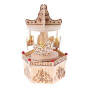 Baoblaze Carousel Horse Wooden Music Box Toy Children Home Cafe Wedding Party Decor