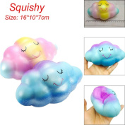 16cm Rainbow Cloud Cream Scented Squishy Toy Mini Kawaii Squishy Squeeze Depression Healing Fun Charm Slow Rising Simulation Kids Toy Adult Stress Reliver Relief by MORWIND
