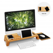 Woodluv Bamboo PC iMac Stand Study Table Desktop Organiser with Wooden Mouse Pad