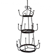 Chandelier Iron Door utensils cups 18 Hooks/Door 3 Shelves with Round Antique Style Antique Brown 29,5x29,5x74 cm