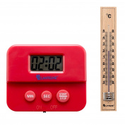 Lantelme 6603 Timer red and kitchen thermometer set in wood - Kitchens need set for time and temperature measurement