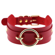 Bluelans Fashion Gothic Wide Faux Leather O Ring Collar Choker Necklace Women Jewellery