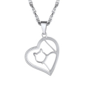 PROSTEEL Cute Cat Necklace Heart Shape With Chain, 18K Gold Plated/316L Stainless Steel/Black Colour-