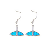 Blue Opal Whale Tail Earrings and Silver Plated BPS 0836 Y - Blue Pearls