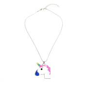 HENGSONG Colourful Unicorn Necklace Pendant Necklace Long Chain Necklace Jewellery