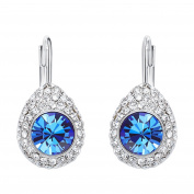 "Hanana "" Angel Tear "" 925 Sterling Silver Blue Dangle Drop Earrings Hoop for Women with Sparkling Crystal from , Clip on Earrings"