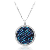 """Hanana """"Exaggerated Luxury"""" Round Blue Pendant Necklace for Women / Girls, 925 Sterling Silver with Stone from with Gift Box"""