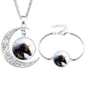 Pu Ran Elegant Glass Cabochon Moon Pendant Unicorn Necklace Bracelet Bangle Jewellery Set