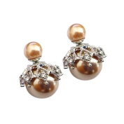CHIC*MALL Ear Stud Earring Simple Fashion Women Crystal Rhinestone Double Sided Pearl Ball Earring
